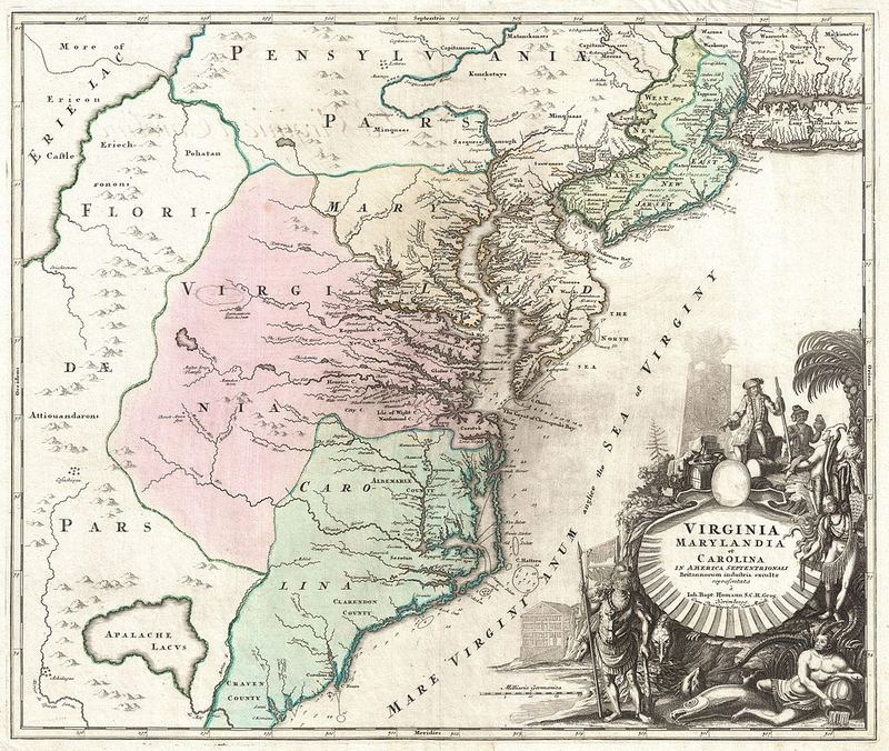 A map from the year 1715 of Virginia, Carolina, Maryland, and New Jersey.
