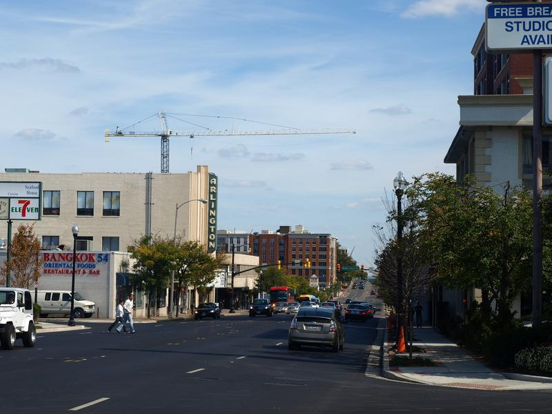 A view down Columbia Pike, where plans for a new streetcar line would have serve the busy corridor.
