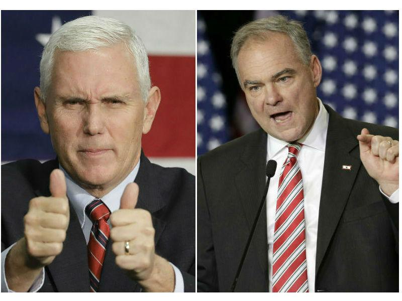 A composite image of 2016 vice presidential candidates Mike Pence and Tim Kaine.