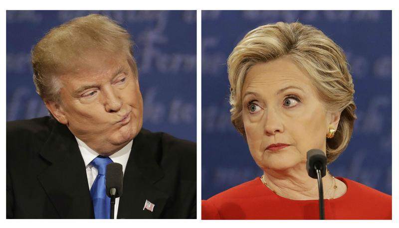 Composite images of Donald Trump and Hillary Clinton during the presidential debate at Hofstra University in Hempstead, N.Y., Monday, Sept. 26, 2016.