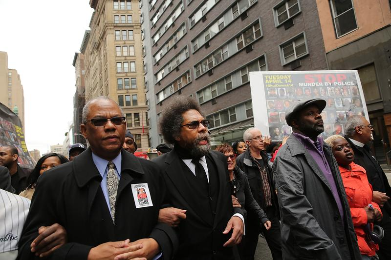Activist and scholar Cornel West joined hundreds more in Union Square to protest recent police brutality.
