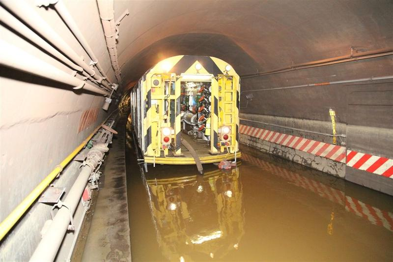 New York City Transit employees pumping water out of the Cranberry Street Tunnel in November 2012