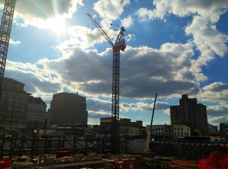 The construction site for the new Prudential office tower in downtown Newark.