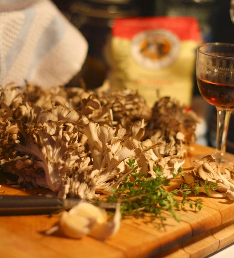 Cultivated maitake, or hen of the woods