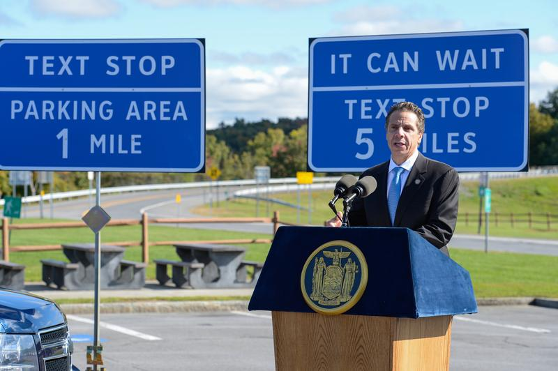 "New York Governor Cuomo unveils new ""texting zone"" signage at a Thruway rest stop"