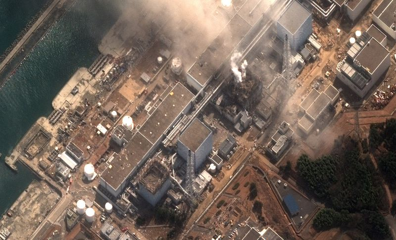 An aerial view of explosions at the Fukushima Daiichi Nuclear Power Station on March 15, 2011.