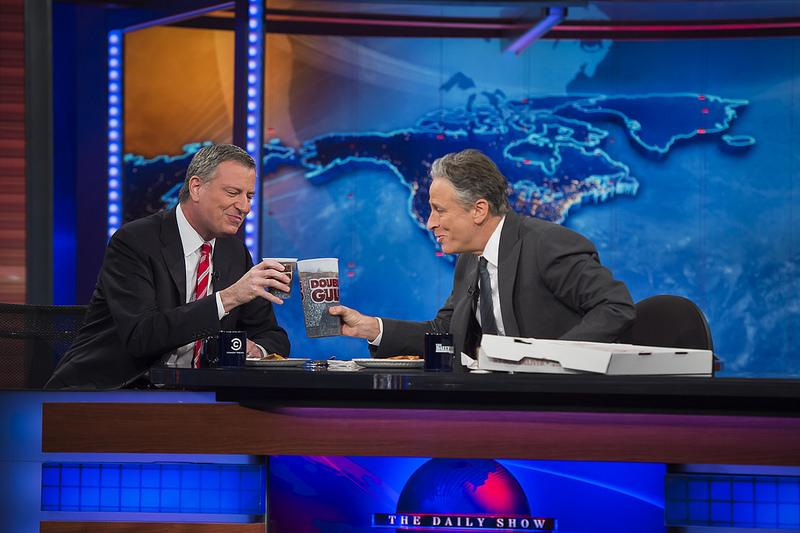 Mayor Bill de Blasio appears as a guest on Comedy Central's The Daily Show with Jon Stewart filmed in Manhattan on Monday February 3, 2014.