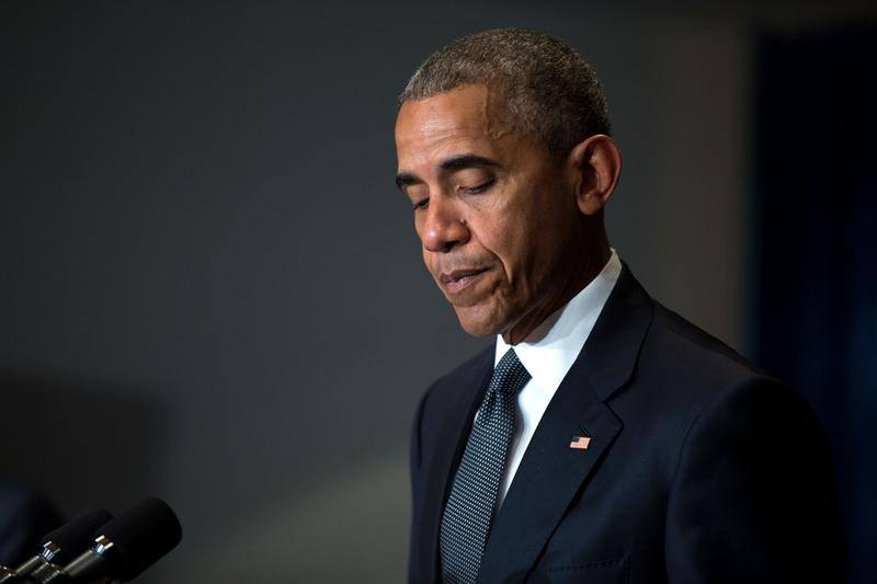 President Barack Obama delivers a statement to the press regarding the police shootings in Dallas, Tex., from the Marriott Hotel in Warsaw, Poland, July 8, 2016.