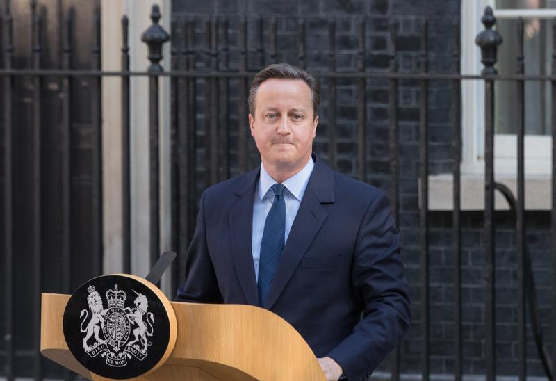 British Prime Minister David Cameron resigns on the steps of 10 Downing Street on June 24, 2016 in London, England.