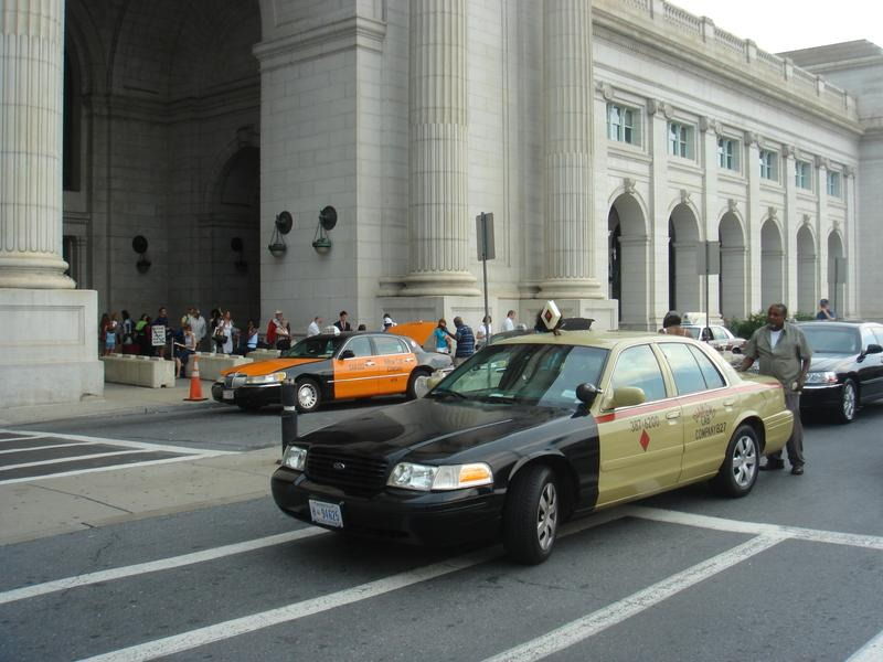 Taxis outside Union Station in Washington, D.C.
