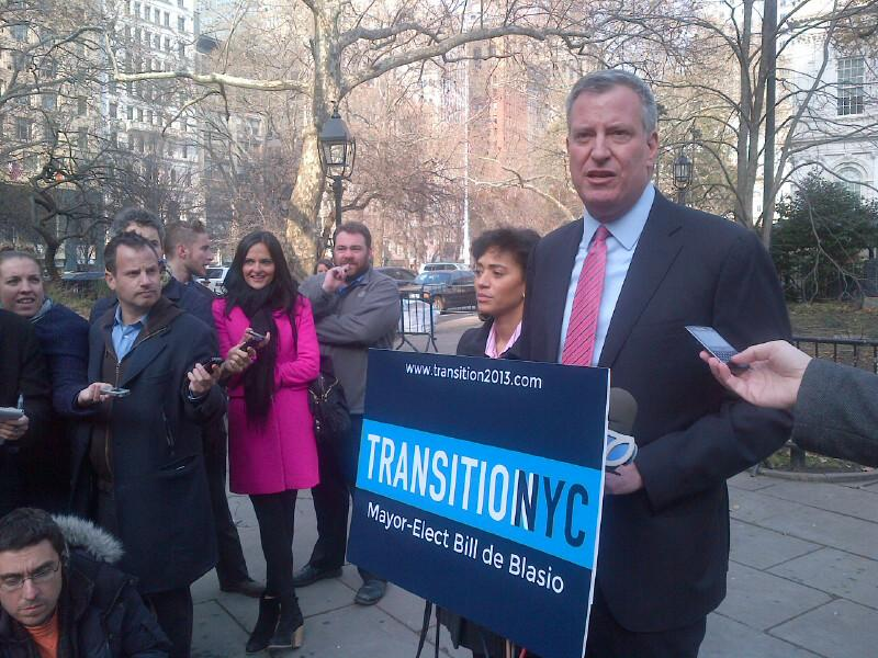 Mayor elect Bill de Blasio in City Hall Park, with Jennifer Austin Jones of his transition committee