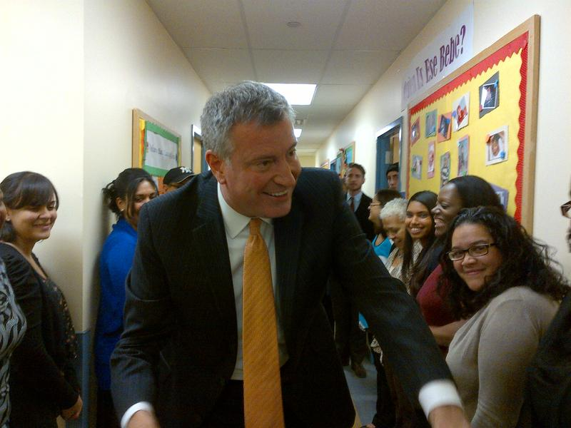 Bill de Blasio at a child care center in Harlem