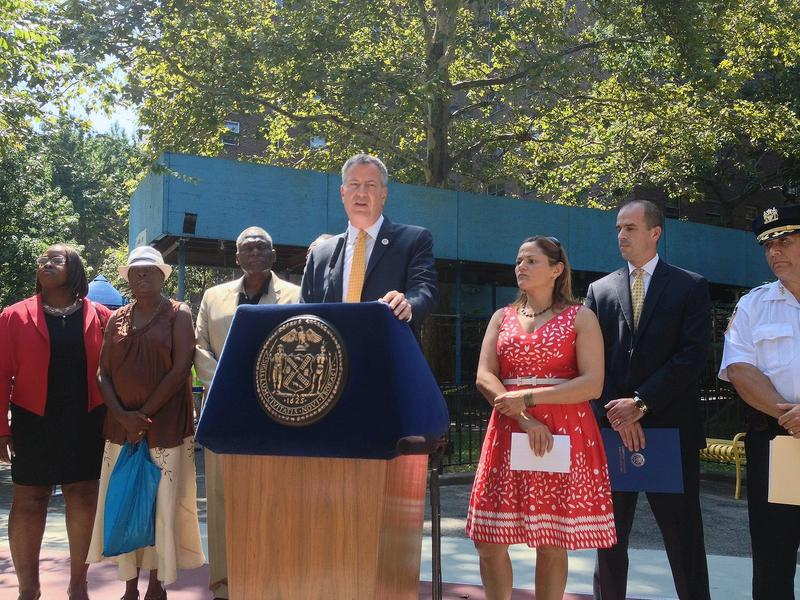 Mayor Bill de Blasio and Speaker Melissa-Mark Viverito at Lincoln Houses