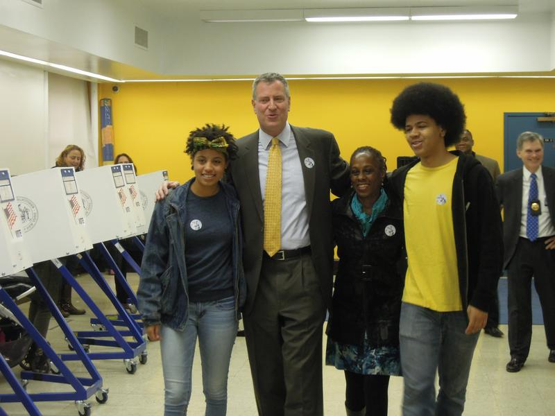 The de Blasio family after Bill, Chirlane and Chiara cast ballots at the Park Slope Library.