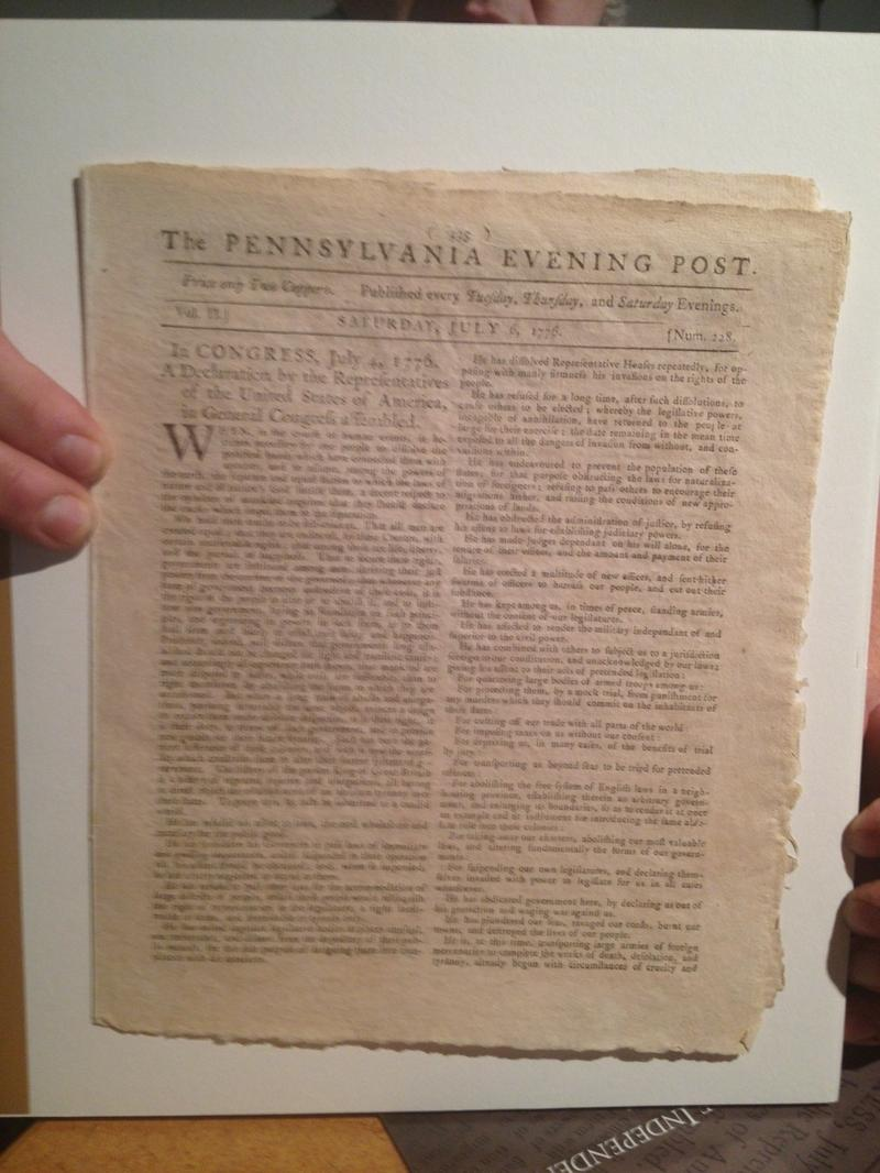 A photo of the rare first newspaper printing of the Deceleration of Independence, which appeared in the July 6, 1776 issue of the Pennsylvania Evening Post.