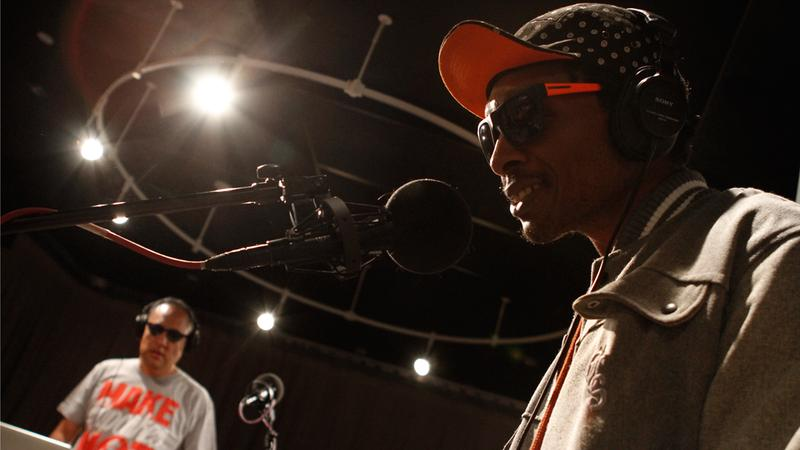 "Del The Funky Homosapien and Dan ""The Automator"" Nakamura playing as Deltron 3030 in the Soundcheck studio."