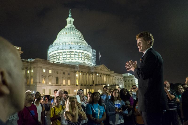 Rep. Joe Kennedy III (D-MA) speaks to supporters of House Democrats taking part in a sit-in on the House Chamber outside the U.S. Capitol on June 23, 2016 in Washington, DC.