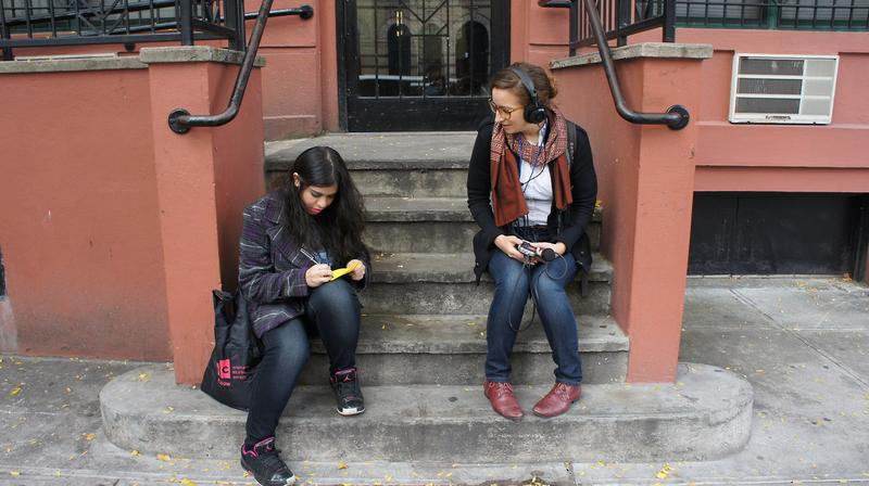 Samantha Hernandez and mentor Thelma Young participate in the 2013 Digital Waves Youth Media Festival.