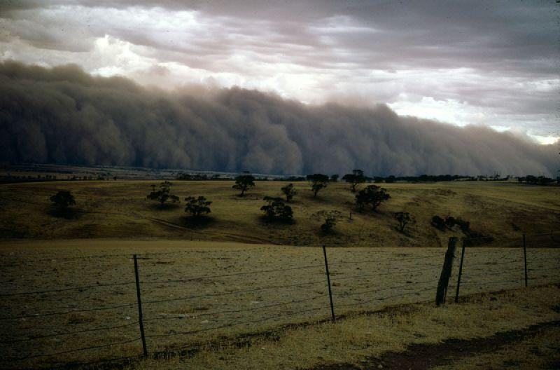 Dust Storm over the plains north of Adelaide South Australia, Febuary 1968.