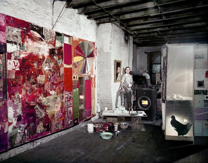 Robert Rauschenberg in his Pearl Street studio in New York in March 1958. A retrospective of his work is now on view at MoMA.