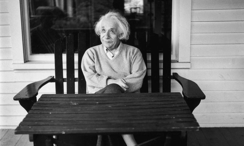 Albert Einstein outside his home in Princeton, New Jersey in 1951