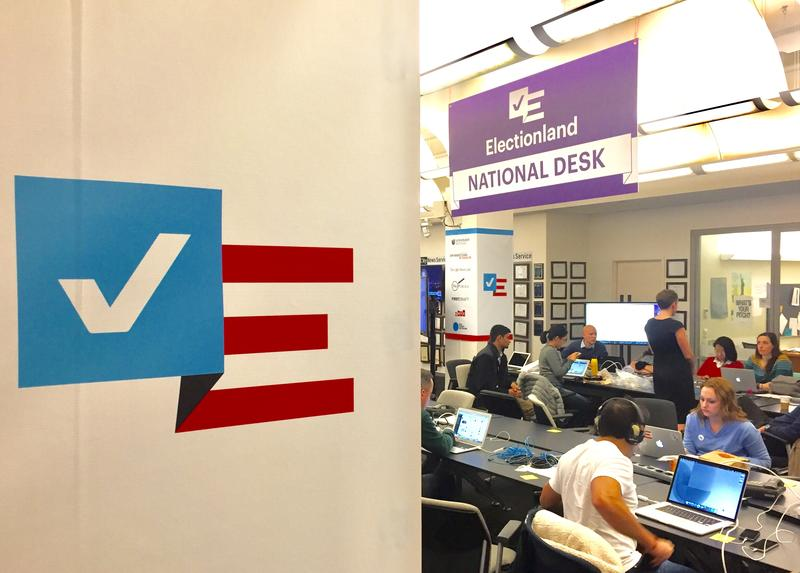 The Electionland newsroom, at the CUNY Graduate School of Journalism, where journalists are tracking polling problems on Nov. 8, 2016