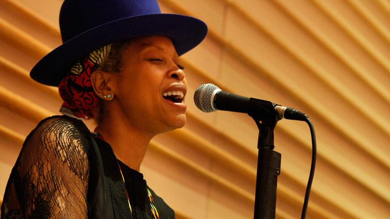 Erykah Badu rehearses with the Brooklyn Philharmonic at the DiMenna Center for Classical Music.