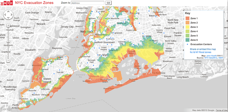 NYC Evacuation Zones during Hurricane Sandy