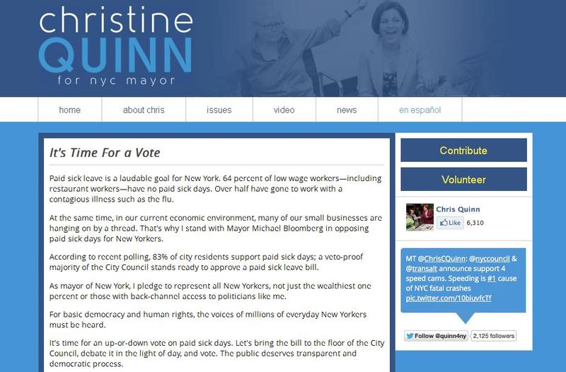 A fake website mocking Speaker Christine Quinn's position on a paid sick leave bill.