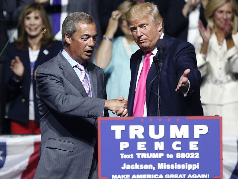 The pro-Brexit British politician Nigel Farage attends a Trump rally in Mississippi in August, 2016.