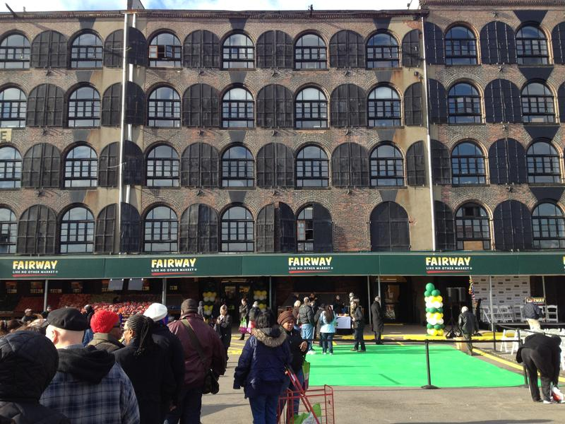Dozens line-up outside Fairway, in Red Hook, Brooklyn, which reopened on March 1, after Hurricane Sandy.