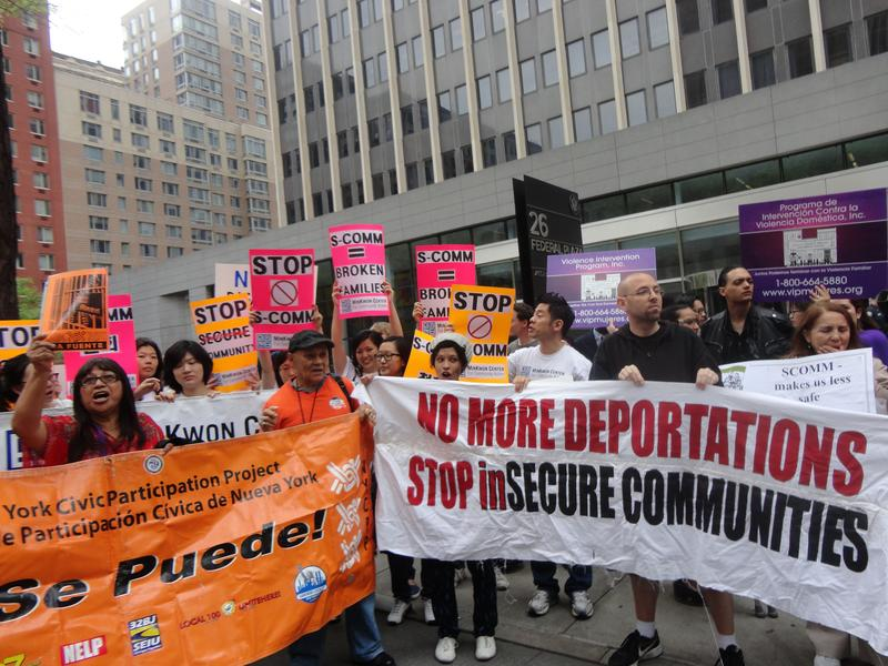 Immigration protest in front of the immigration court in Federal Plaza