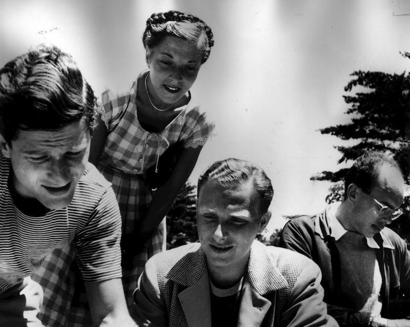 Irving Fine, Verna Fine, Lukas Foss, Harold Shapero in Tanglewood, 1946