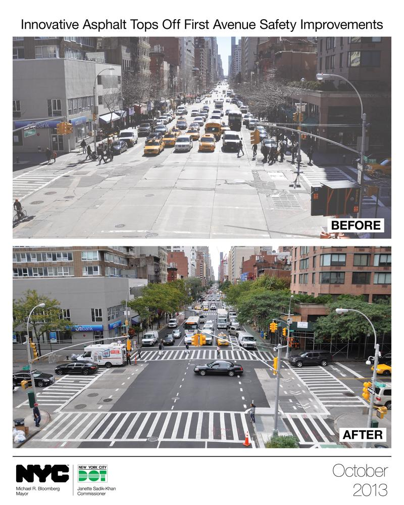 Photos provided by the Department of Transportation show the changes made along a stretch of 1st Avenue.