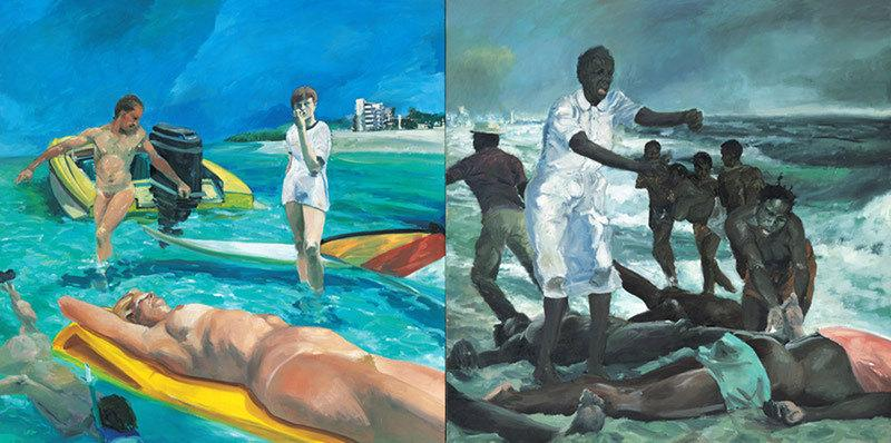 """A Visit To / A Visit From / The Island"" by Eric Fischl, a part of ""Fast Forward: Painting from the 1980s"" now at the Whitney Museum."