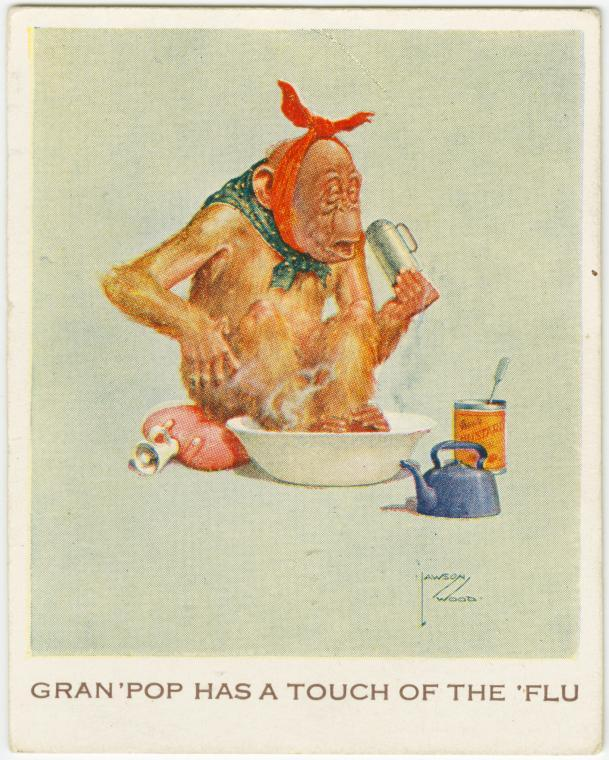 Gran-Pop has a touch of the flu (Cigarette Card ca. 1923-1939)
