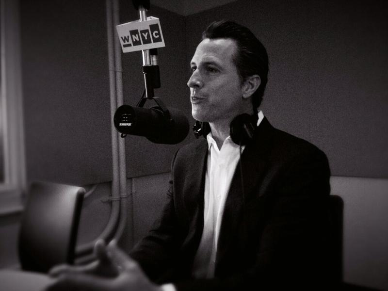 Former San Francisco mayor and California Lieutenant Governor Gavin Newsom talking with Brian Lehrer in WNYC Studio 2