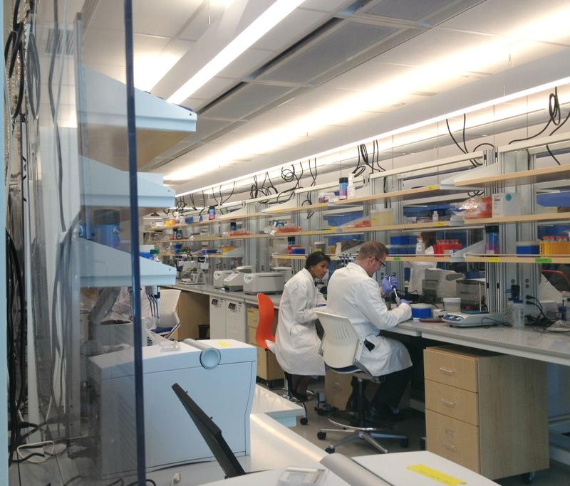 Research technicians prepare DNA to be sequenced at the New York Genome Center in lower Manhattan.