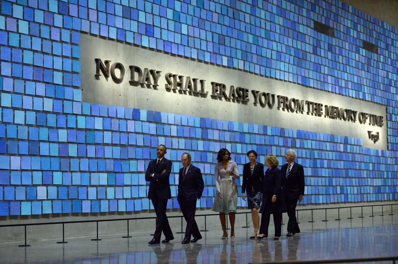 President Barack Obama, Michael Bloomberg, Michelle Obama, Hillary Clinton, and Bill Clinton tour the National September 11 Memorial & Museum