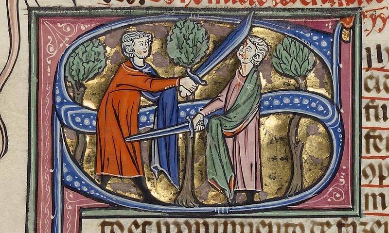 <em>Initial S: Two Men Fighting with Swords</em> (detail) - Michael Lupi de Çandiu, scribe; unknown illuminator (c 1300)