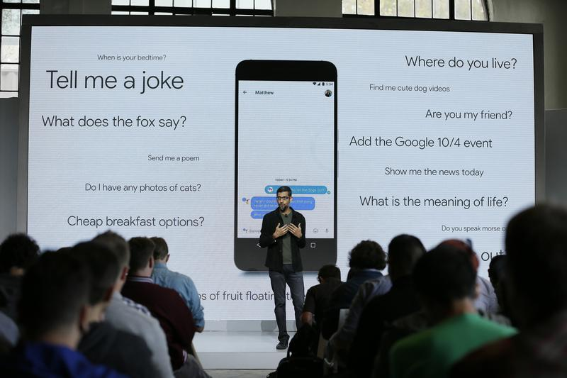 "Google CEO Sundar Pichai unveiled the ""Google Assistant,"" a digital helper made to rival Siri, Amazon's Alexa and Microsoft's Cortana."