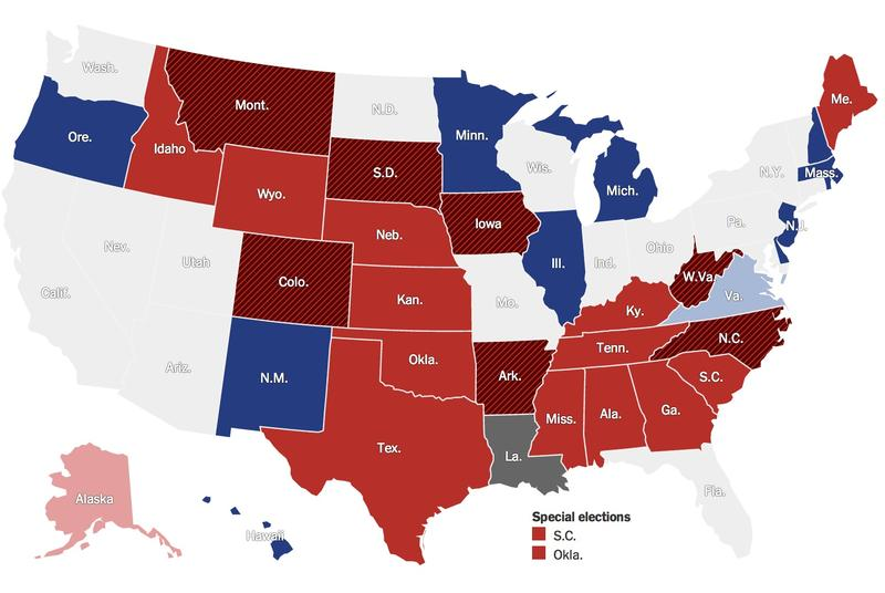 A screen grab of The New York Times 2014 Senate election map. The states with black bars represent Republican pick ups.