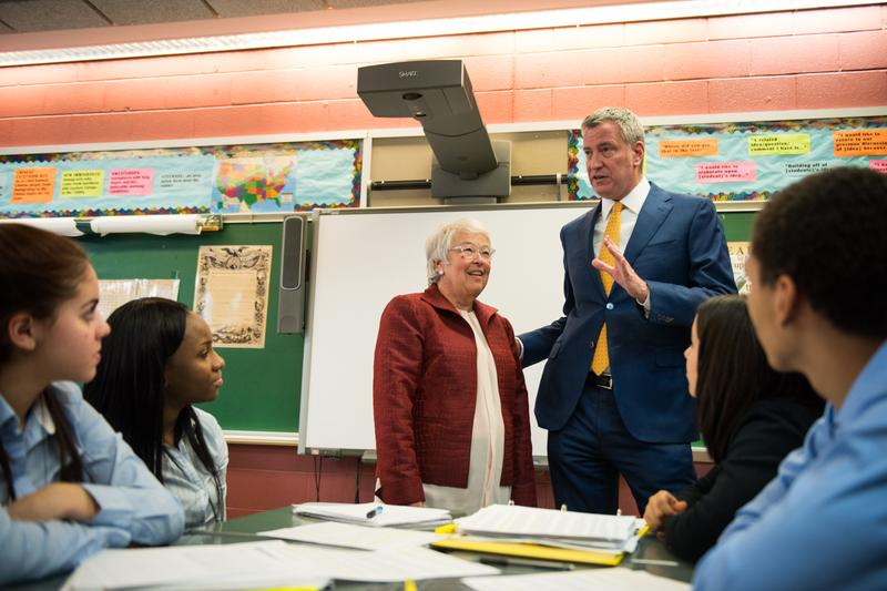 Mayor Bill de Blasio and Schools Chancellor Carmen Farina announce high school graduation rates on Friday, Feb. 10th, 2017 at the Bronx School for Law, Government, and Justice.