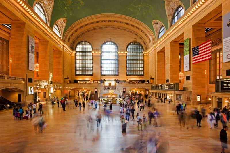 Commuters moving through Grand Central Terminal in New York.