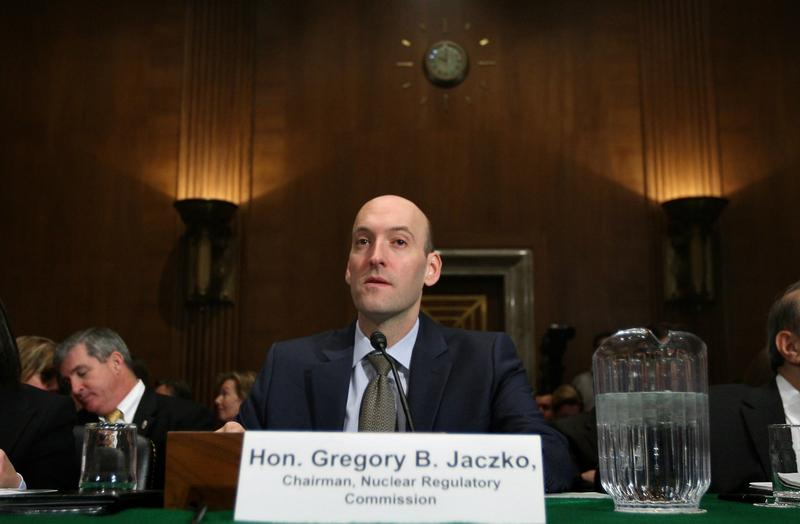 Gregory Jaczko (C) waits for the beginning of a joint hearing before the Senate Environment and Public Works Committee in 2011.
