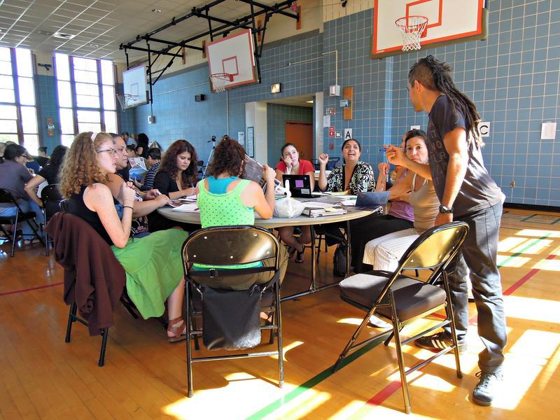 Teachers at a professional development meeting