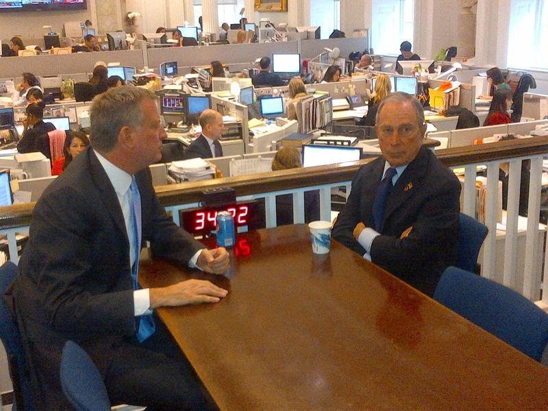 Mayor-Elect Bill de Blasio and Mayor Michael Bloomberg at City Hall