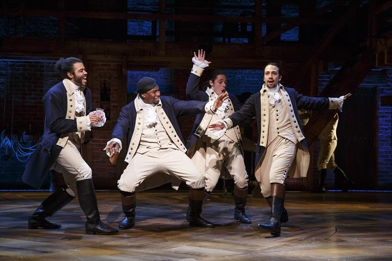 "Daveed Diggs, Okieriete Onaodowan, Anthony Ramos, and Lin-Manuel Miranda in ""Hamilton"" on Broadway."