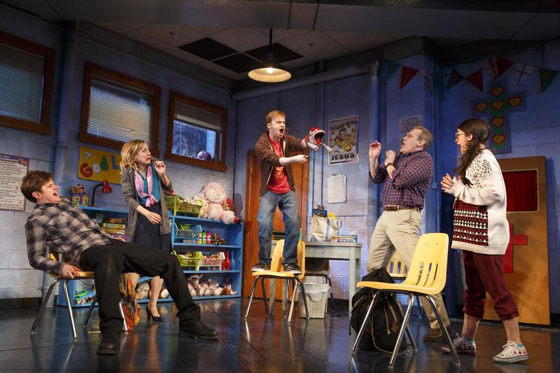 Michael Oberholtzer, Geneva Carr, Steven Boyer, Marc Kudisch and Sarah Stiles in a scene from 'Hand to God' on Broadway.