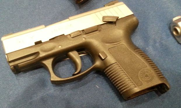One of the handguns that was seized in the NYPD raid.